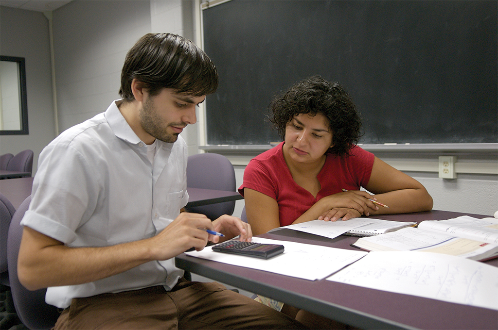Math prof teaching student