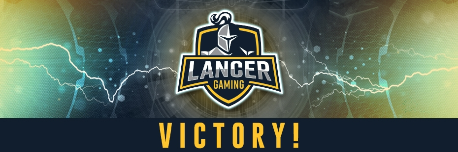 "Lancer Gaming Logo with ""VICTORY"" text underneath"