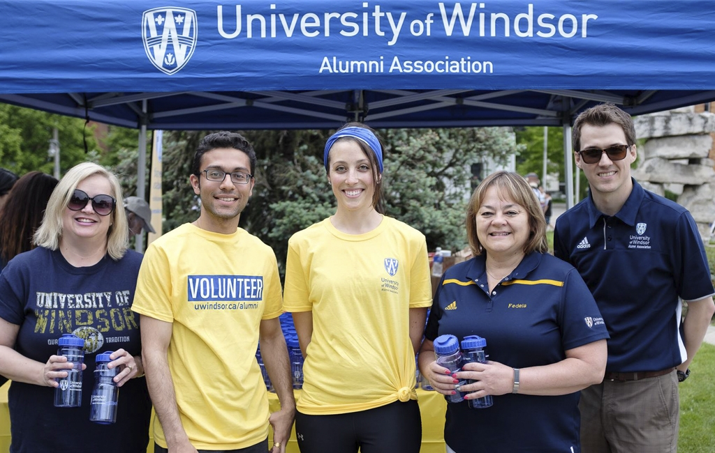 Patti Lauzon BA '07, Director of Alumni Affairs & Donor Communications, Deep Gandhi, Jessica Janisse BScN '12, Fedela Falkner, Rob Janisse BA '09