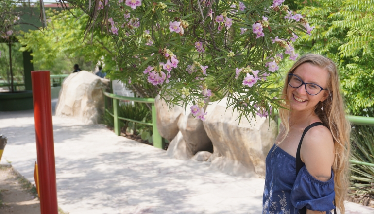 Meaghan Marton is shown while on one of her many travels to a warm climate.