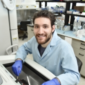 Jonathan Nari is shown in a Chemistry lab