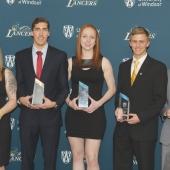 2016-17 Windsor Lancer major award winners (from left): Krystin Lawrence, Corey Bellemore, Emily Prevost, Nick MacMackin and Mike Rocca