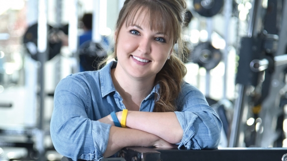 HK student Kelly Carr is shown in the University of Windsor weight room.
