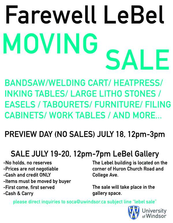 poster for LeBel Moving Sale