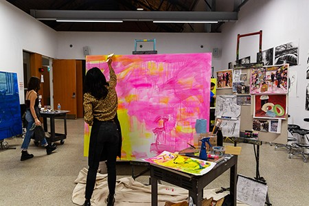 Students working in painting studio
