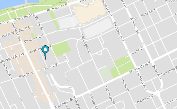 map showing Freedom Way at downtown Windsor Campus