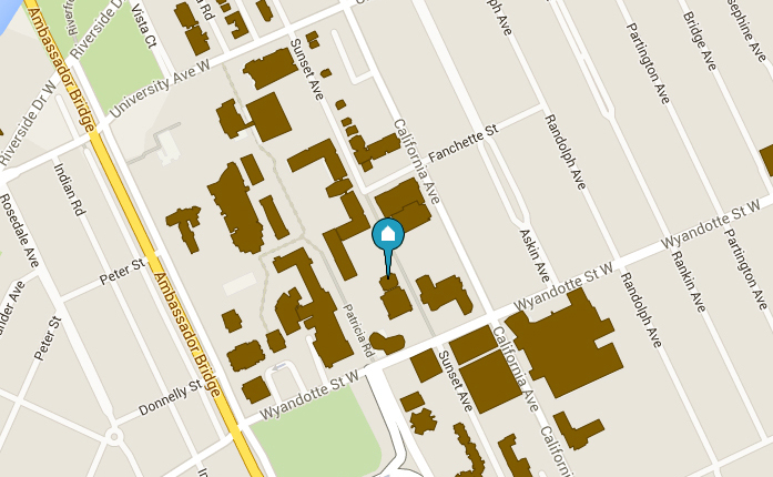 map showing Lambton Tower on the University of Windsor Campus