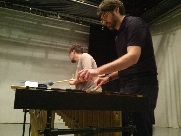 Nick Papador and Aaron Eichler rehearsing