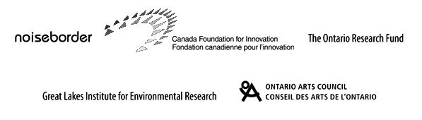 logos for noiseborder, canada foundation for innovation, ontario research fund, great lakes institute for environmental research, ontario arts council
