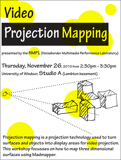 video projection mapping, poster for the mapping workshop by Yiru Chen and Sigi Torinus