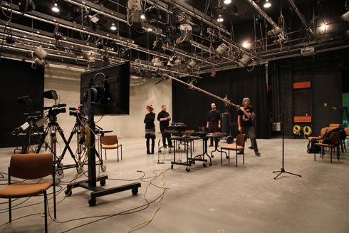 interior of the Studio A performance space with members of the Noiseborder Ensemble