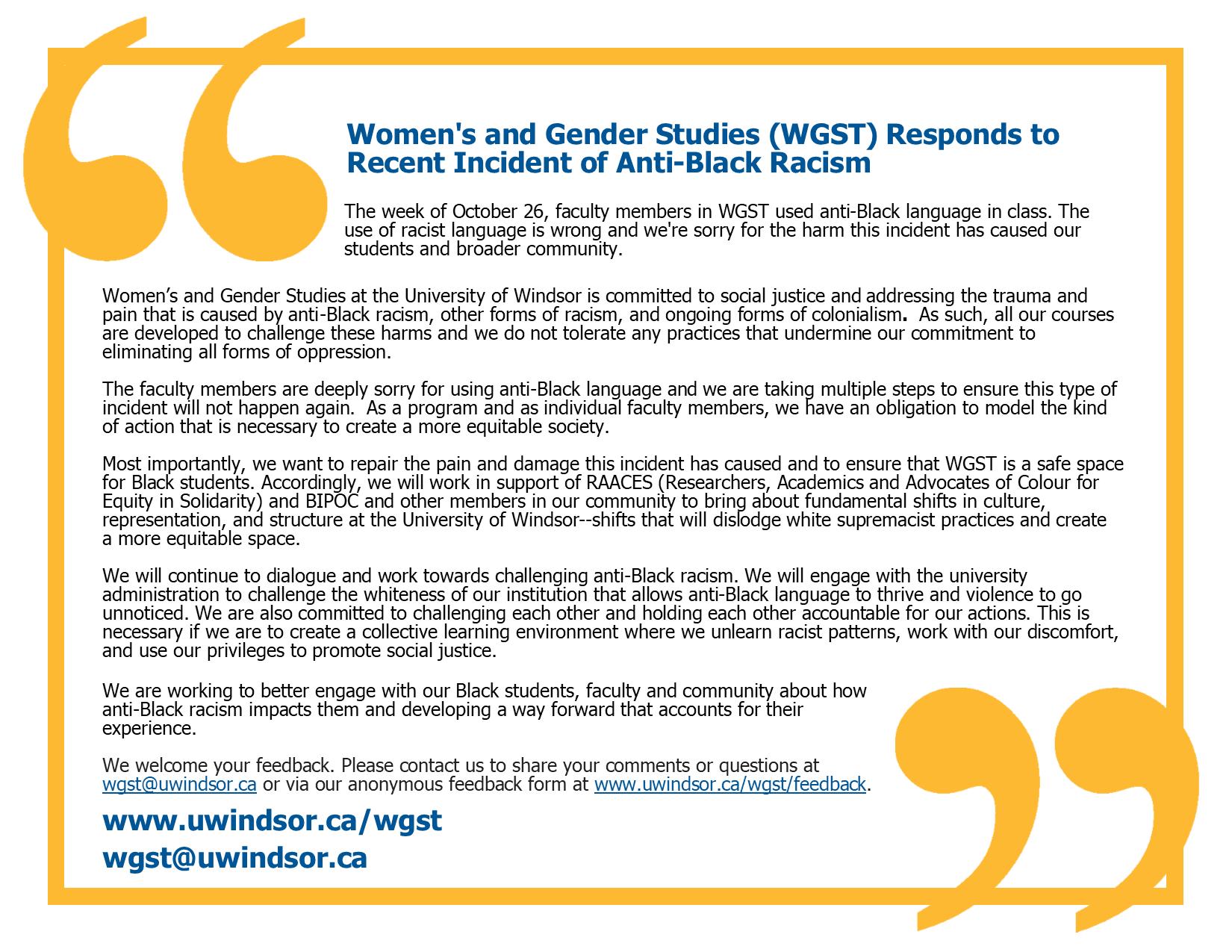 WGST response to anti-Black racsim